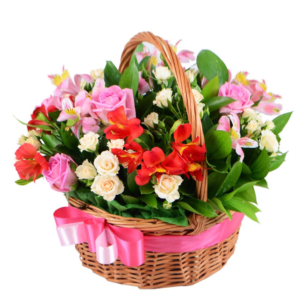 Картинки корзинки с цветами с днем рождения